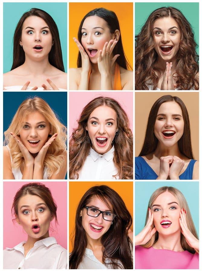 Collage delle foto delle donne felici sorridenti attraenti immagine stock