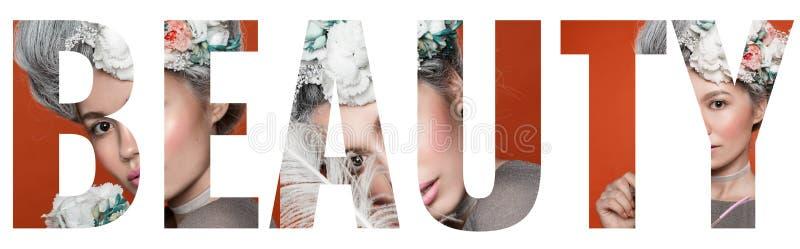 Collage delle foto nella bellezza di parola Chiuda sul ritratto nello stile di barocco Fondo rosa luminoso dello studio di modo M immagine stock libera da diritti