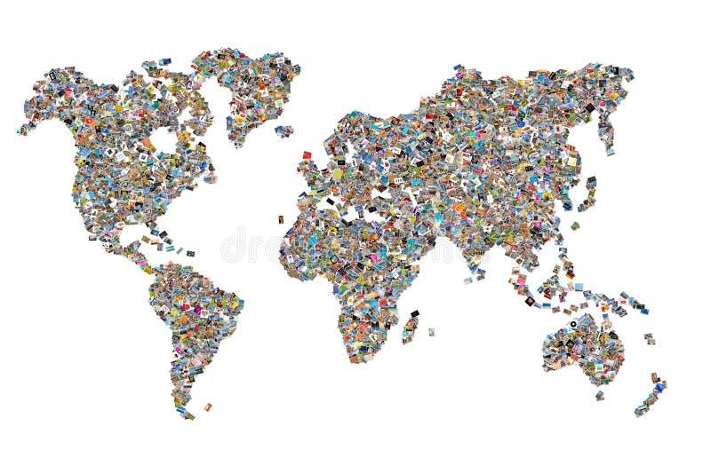 Collage delle foto sotto forma di una mappa di mondo fotografia stock libera da diritti