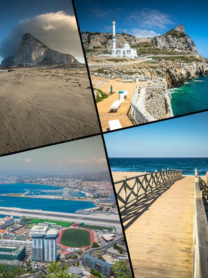 Collage delle foto turistiche dell'isola di Gibilterra Britannici immagine stock