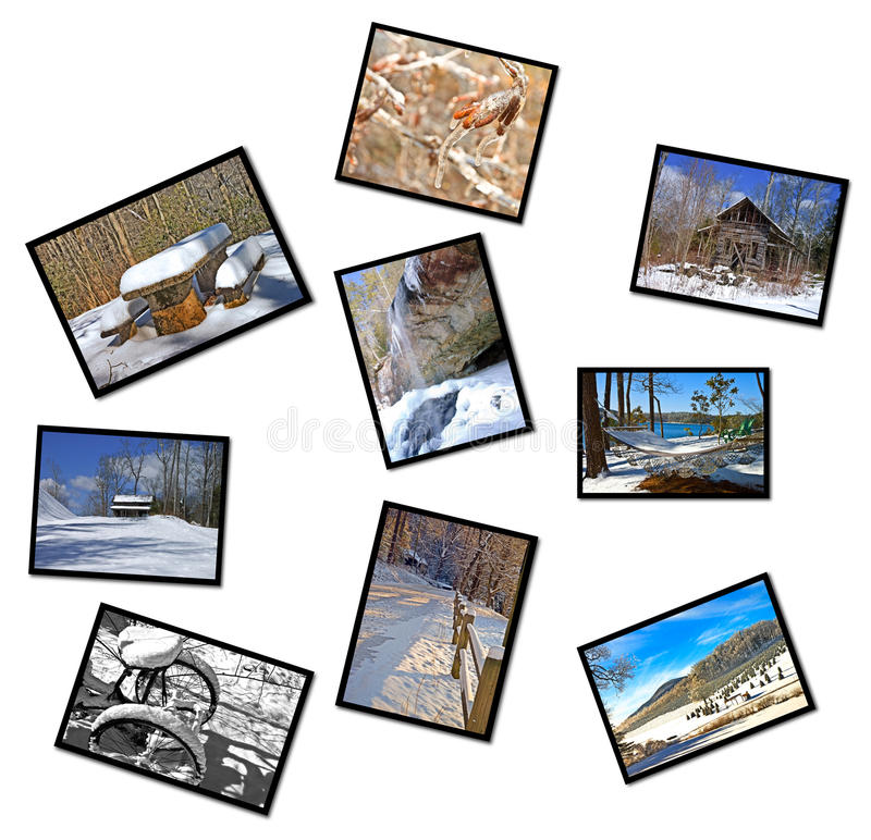 Collage delle fotografie di inverno fotografie stock libere da diritti