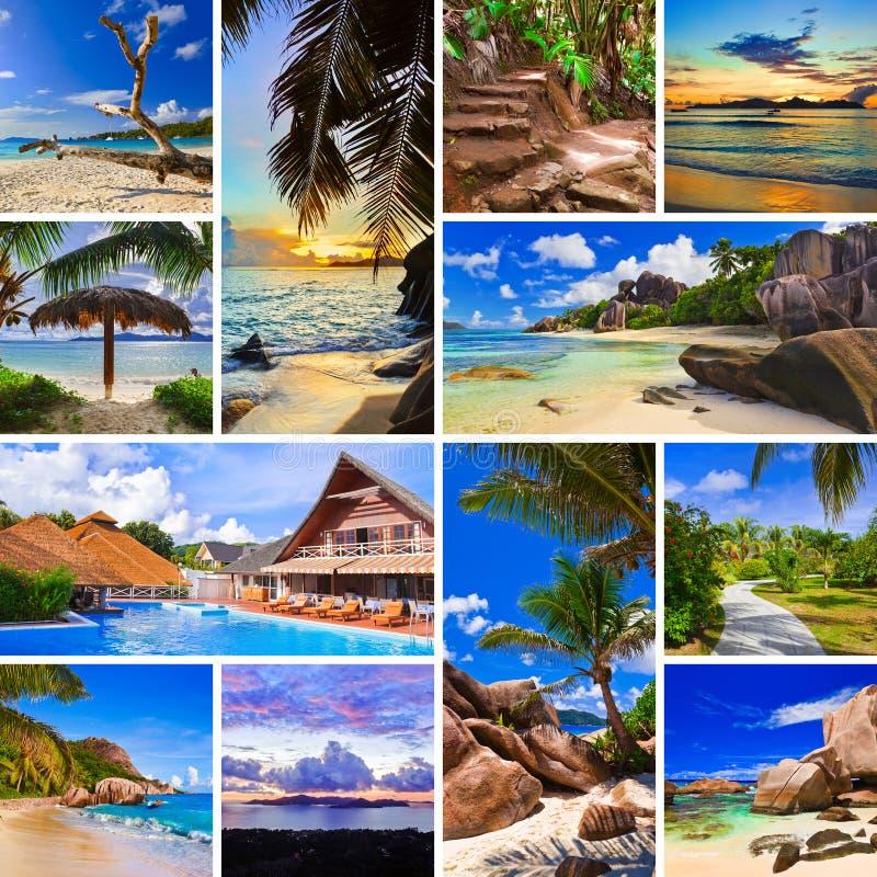 Collage delle immagini della spiaggia di estate fotografie stock