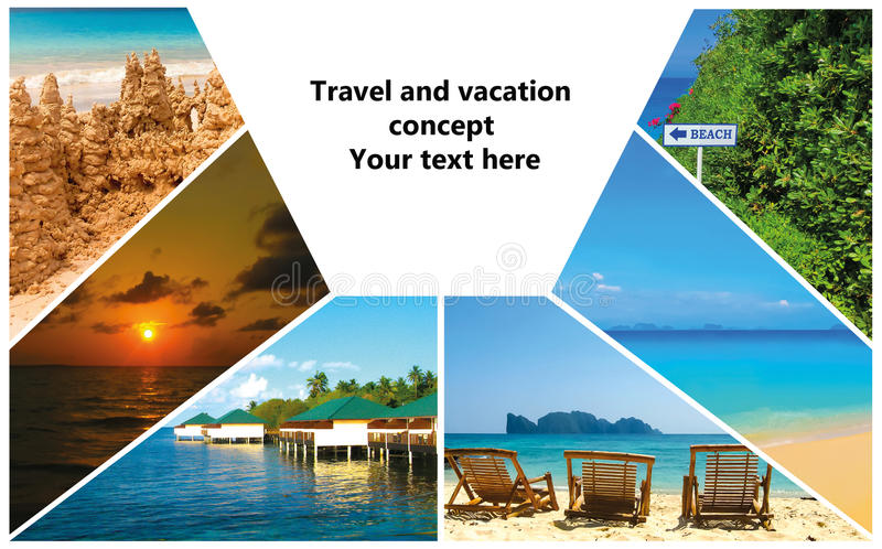 Collage delle immagini della spiaggia di estate - fondo di viaggio e della natura immagine stock