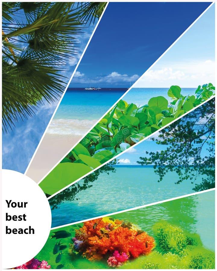 Collage delle immagini della spiaggia di estate - fondo di viaggio e della natura fotografia stock libera da diritti