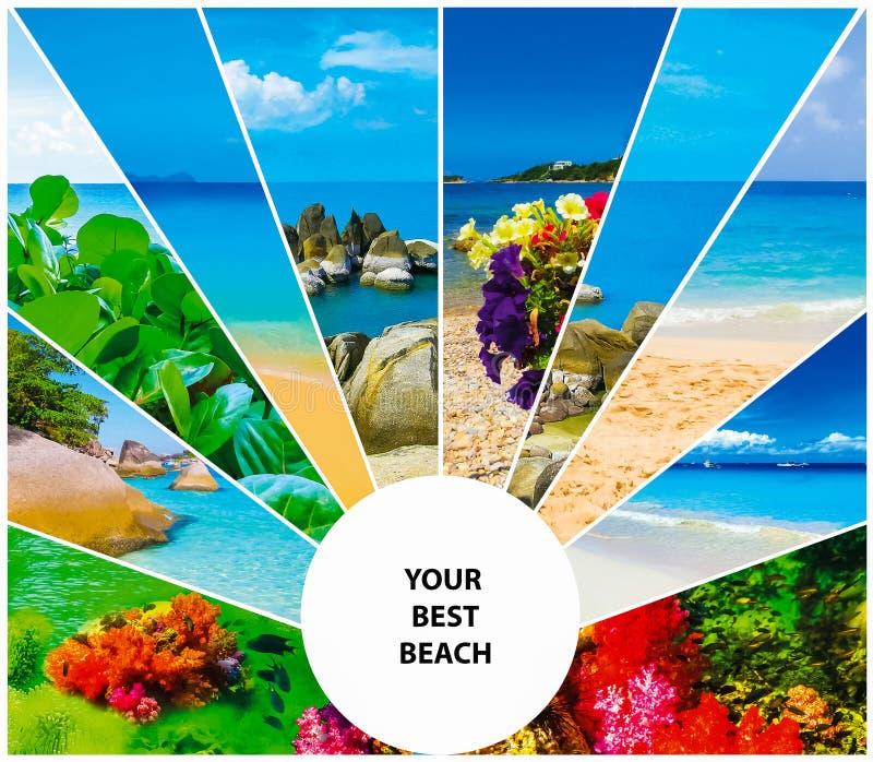 Collage delle immagini della spiaggia di estate - fondo di viaggio e della natura fotografie stock libere da diritti
