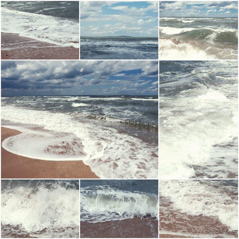 Collage delle immagini della spiaggia e del mare di estate Insieme di estate delle immagini tonificato natura fotografia stock