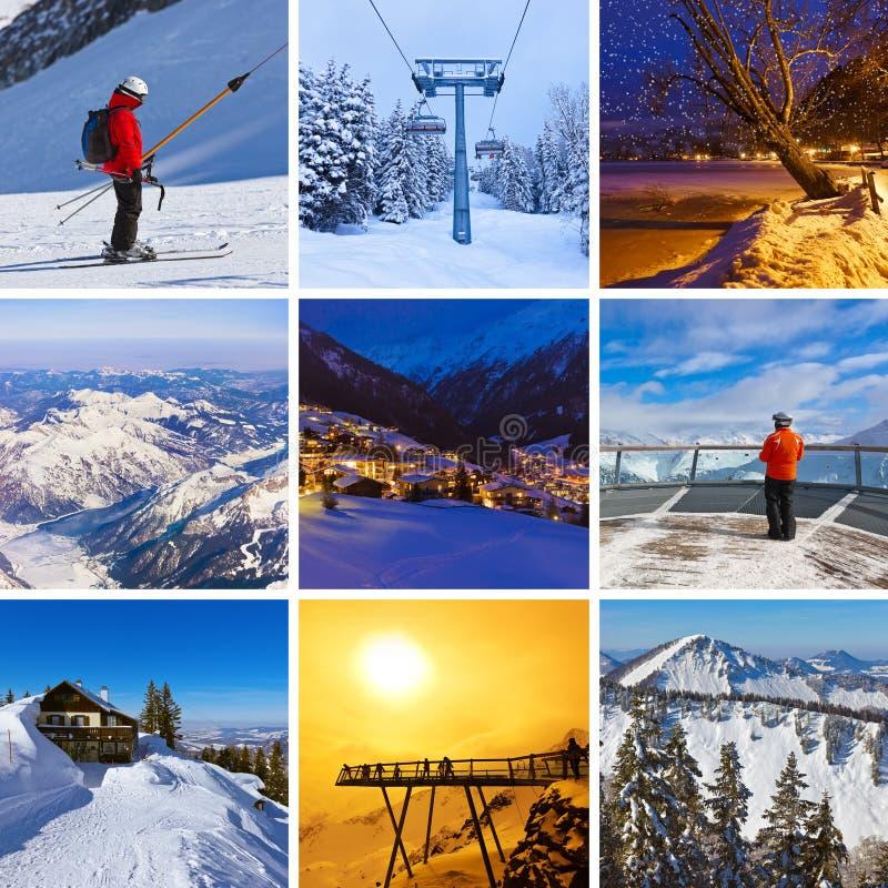 Collage delle immagini dello sci delle montagne fotografia stock libera da diritti
