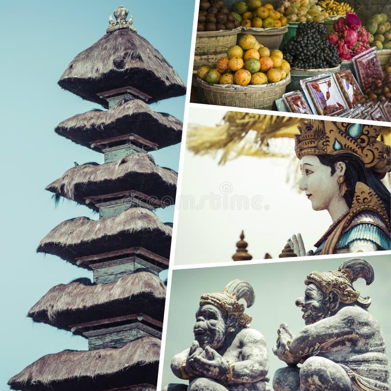 Collage delle immagini di Bali Indonesia - fondo di viaggio la mia foto immagini stock libere da diritti