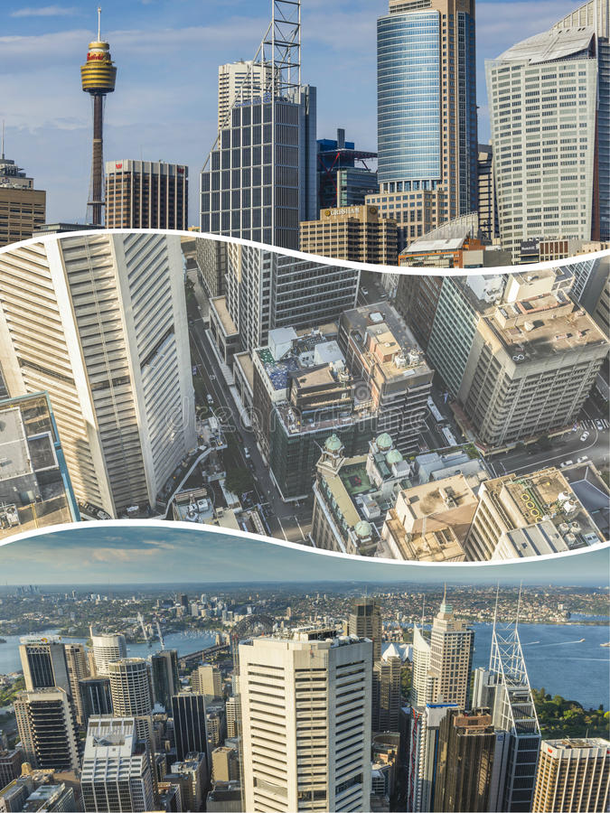 Collage delle immagini di Sydeny (Australia) - fondo di viaggio (il mio pho fotografie stock libere da diritti