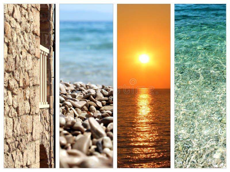 Collage delle immagini di vacanze estive fotografia stock