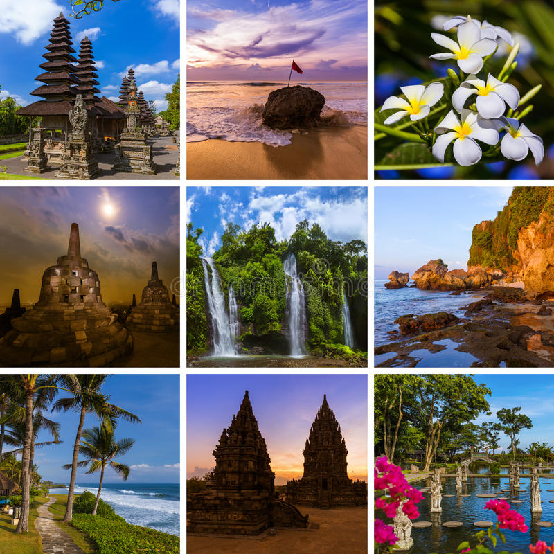 Collage delle immagini di viaggio di Bali Indonesia le mie foto fotografia stock libera da diritti