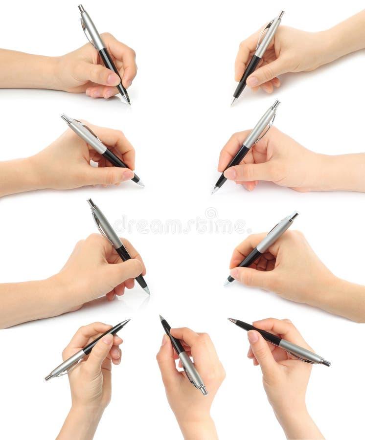 Collage delle mani con le penne immagini stock libere da diritti