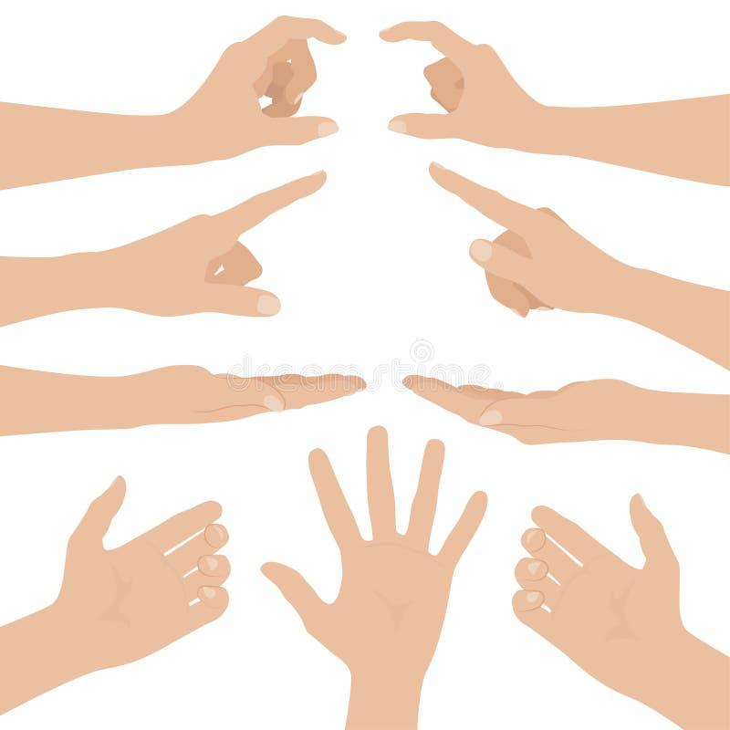 Collage delle mani della donna su fondo bianco illustrazione vettoriale