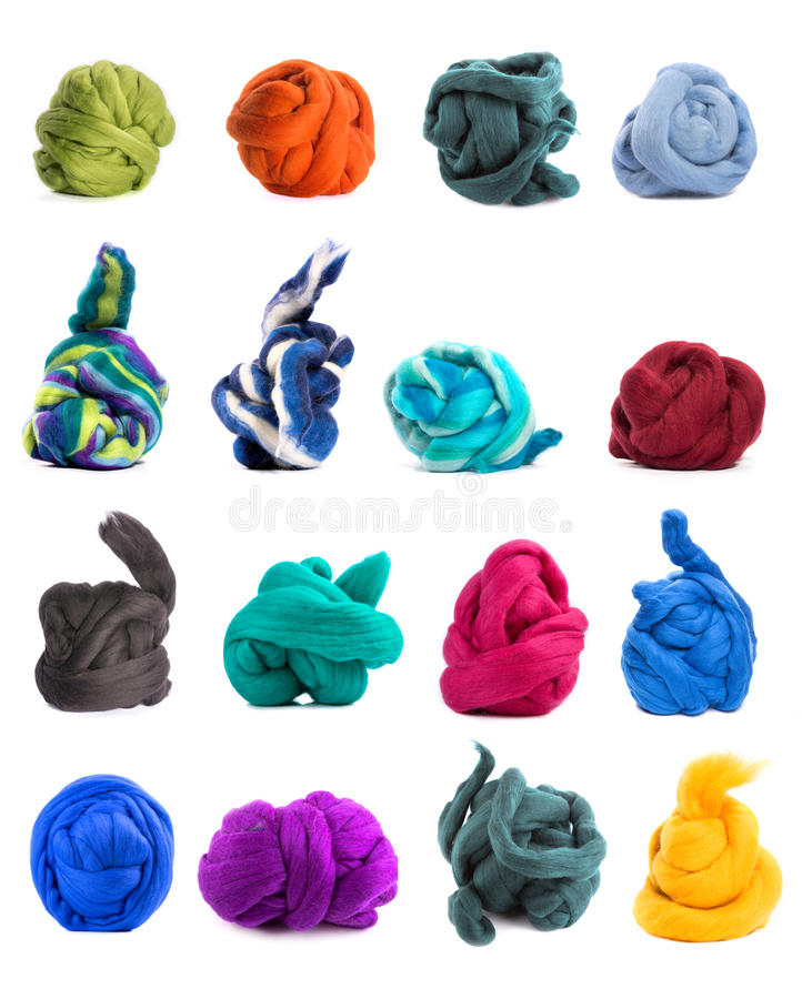 Collage delle matasse variopinte di lana merino fotografia stock libera da diritti
