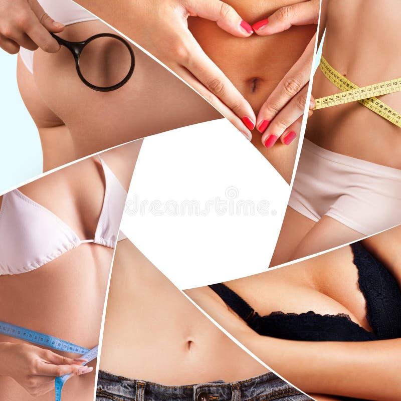 Collage delle parti del corpo della donna immagini stock libere da diritti