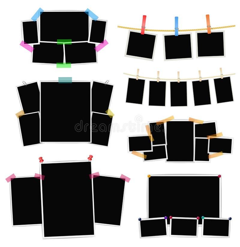 Collage delle strutture della foto messo su fondo bianco Vettore illustrazione vettoriale