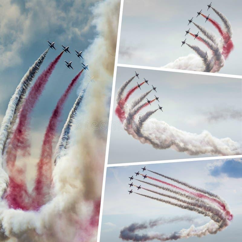 Collage dello show aereo acrobatico degli aerei le mie foto fotografie stock