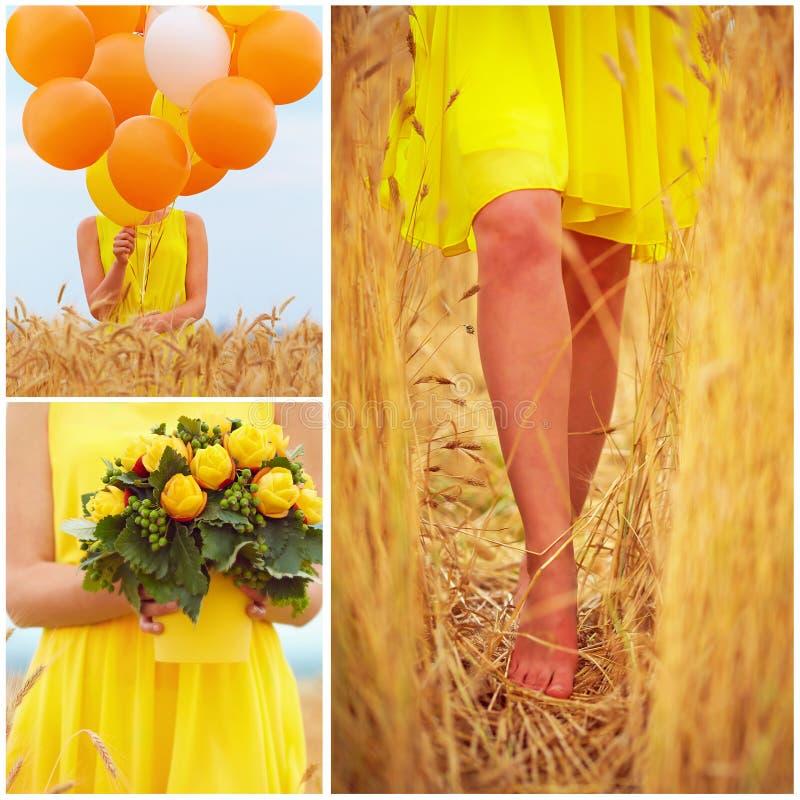 Collage in den gelben Tönen der schönen jungen Frau auf Sommerweizenfeld lizenzfreie stockfotos