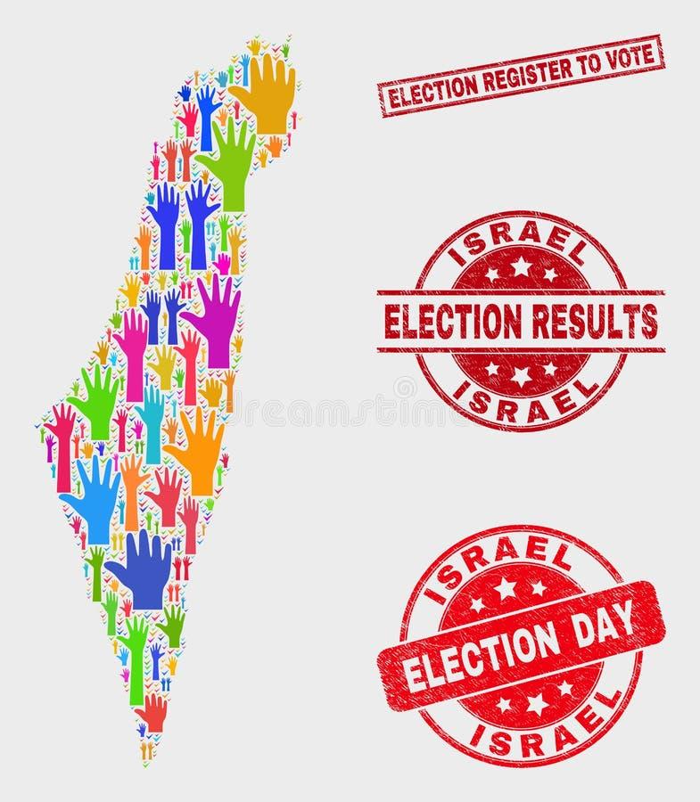 Collage der Abstimmung Israel Map und des verkratzten Wahl-Registers, zum des Stempels zu wählen stock abbildung
