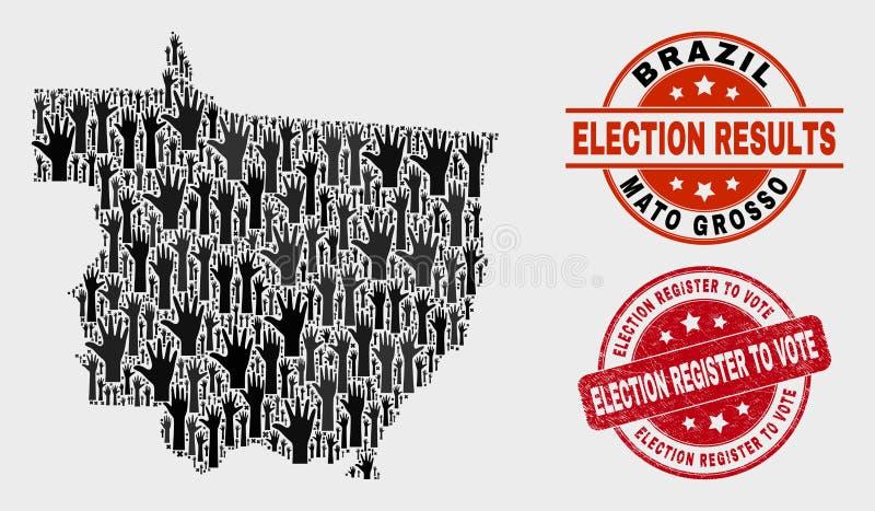 Collage der Abstimmung Mato Grosso State Map und des verkratzten Wahl-Registers, zum des Stempels zu wählen vektor abbildung