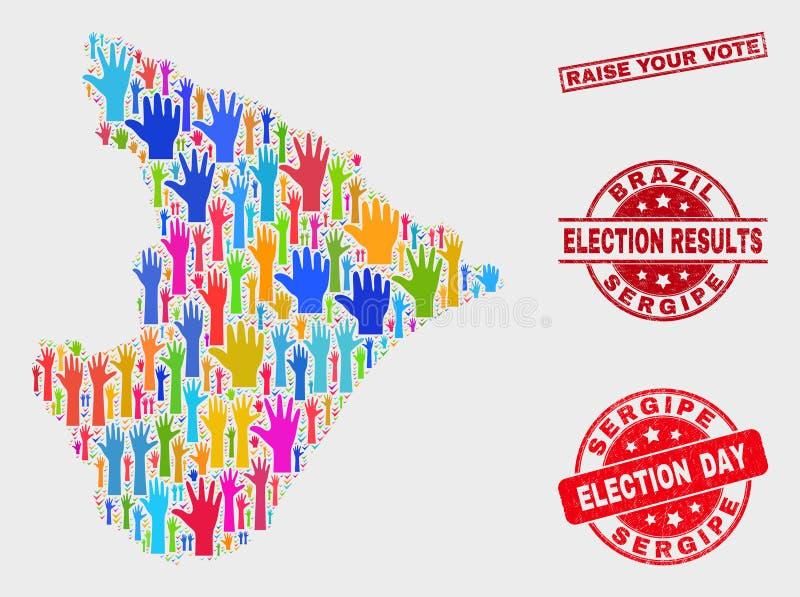 Collage der Abstimmung Sergipe-Zustands-Karte und Schmutz hebt Ihr Abstimmungs-Stempelsiegel an vektor abbildung