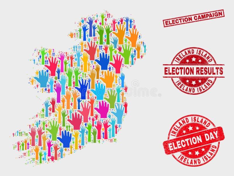 Collage der Abstimmungs-Irland-Insel-Karte und des verkratzten Wahlkampf-Stempels stock abbildung