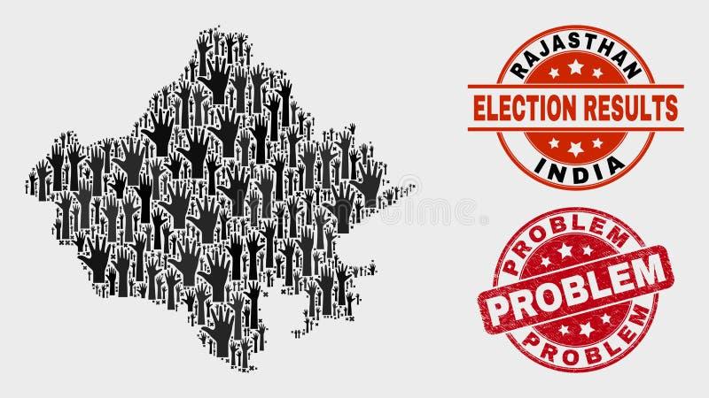 Collage der Abstimmungs-Rajasthan-Staats-Karte und des verkratzten Problem-Stempelsiegels vektor abbildung