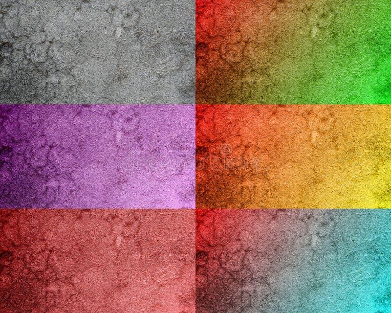 Collage der beunruhigten bunten Beschaffenheit des Halbtonschmutzes - Beschaffenheit des konkreten Bodenhintergrundes für Schaffu stock abbildung