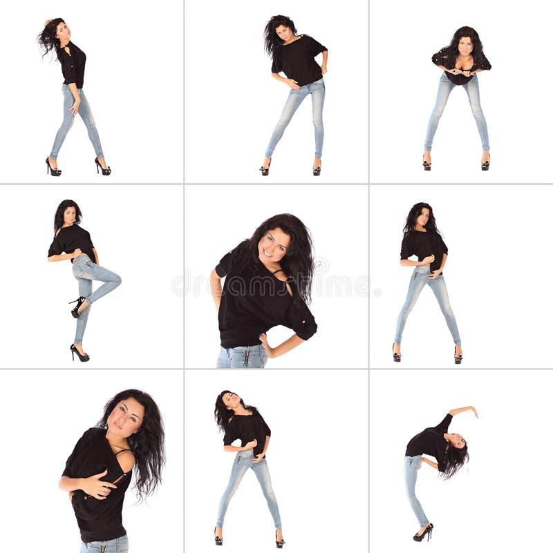 Collage der bezaubernden jungen Frau in der schwarzen Jacke und in den Jeans stockbild