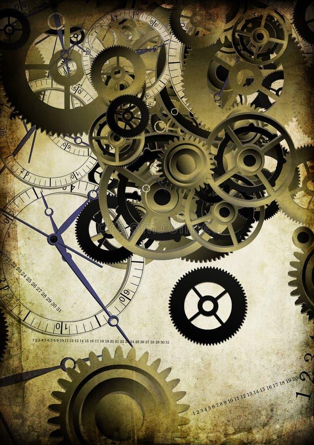 Collage der Borduhren auf Weinlesehintergrund vektor abbildung