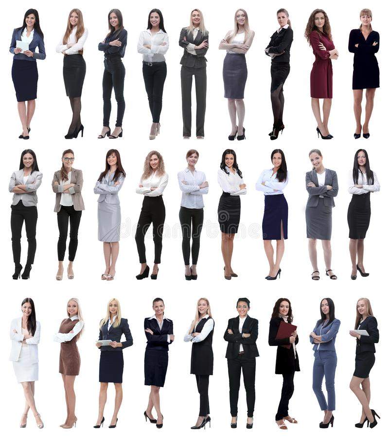 Collage der erfolgreichen modernen Gesch?ftsfrau Lokalisiert auf Wei? lizenzfreie stockfotos