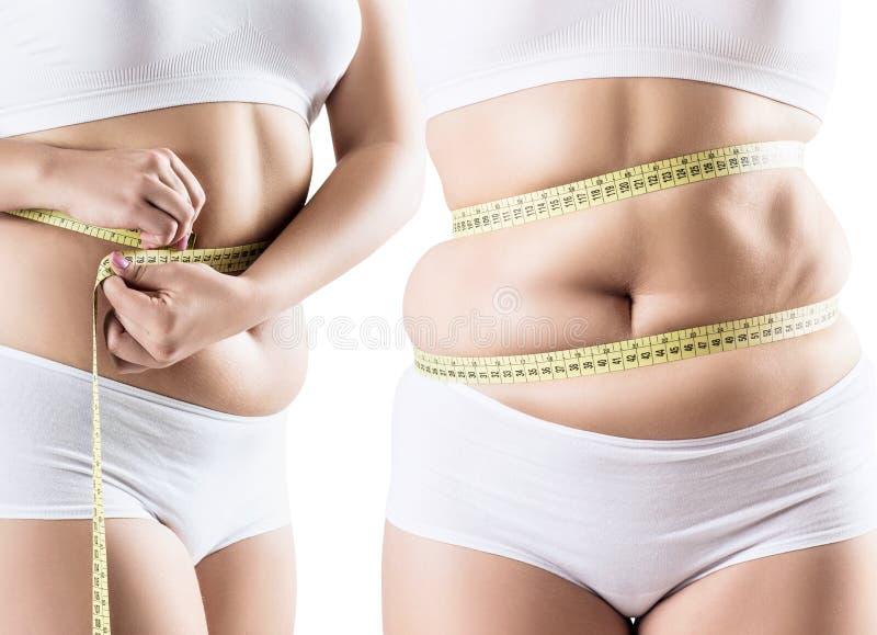 Collage der fetten Frau mit Abdominal- Falten lizenzfreies stockfoto