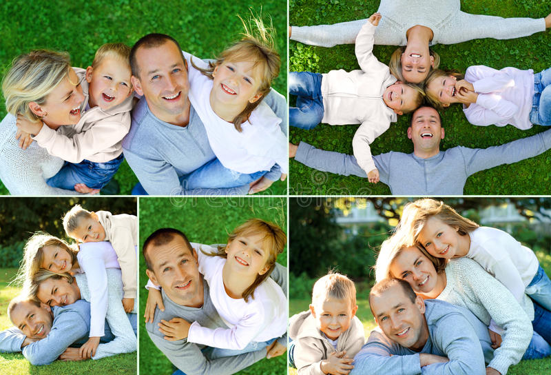 Collage der glücklichen Familie am Park lizenzfreie stockbilder