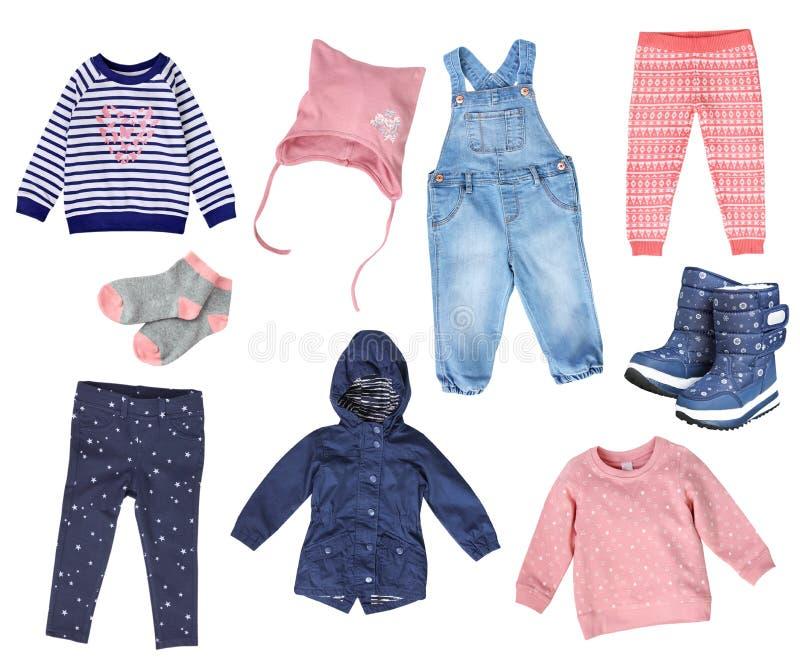 Collage der Kindermädchen-Modekleidung lokalisiert lizenzfreie stockbilder