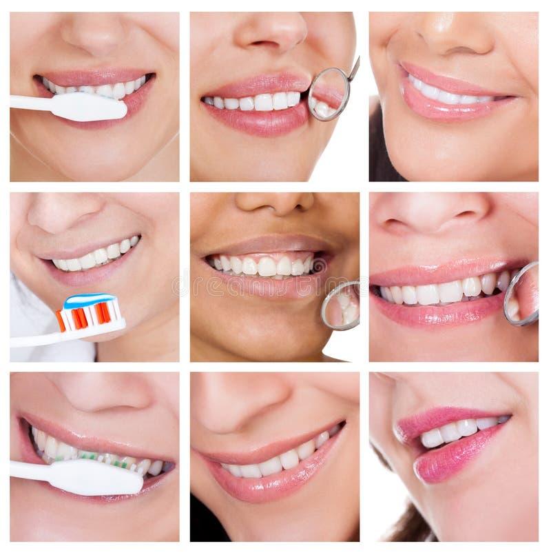 Collage der lächelnden Frau ihre Zähne säubernd lizenzfreie stockbilder