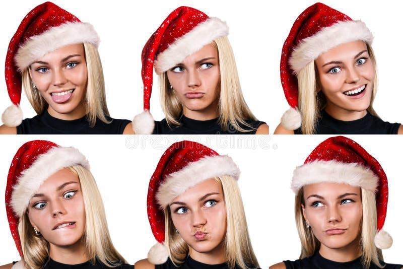 Collage der lächelnden Frau in rotem christmass Hut lizenzfreie stockfotografie