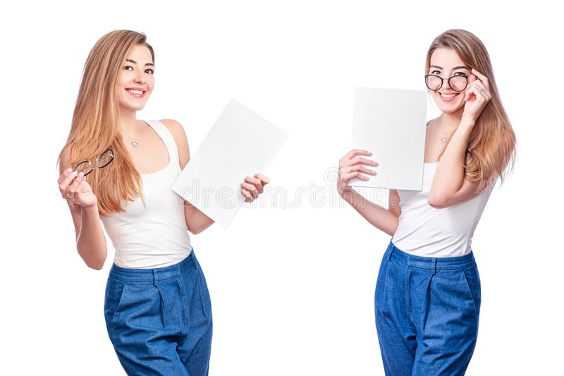 Collage der lächelnden Geschäftsfrau, lokalisiert auf weißem Hintergrund Moderne Geschäftsfrau in den Gläsern mit Kopienraum stockfoto