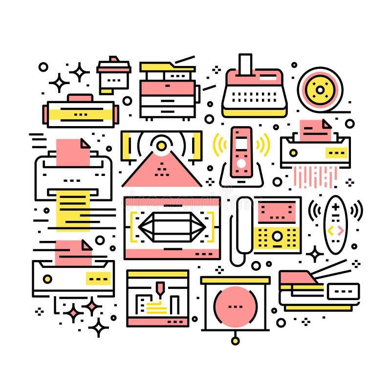 Collage der moderner Büroelektronik und -geräte lizenzfreie abbildung