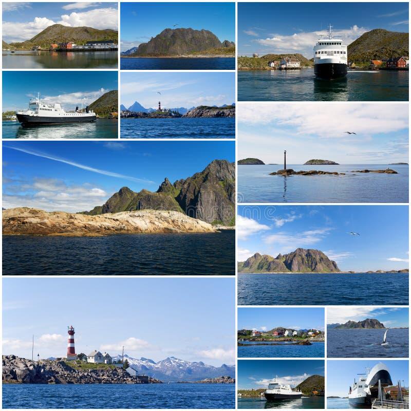 Collage der norwegischen Landschaft stockfotografie