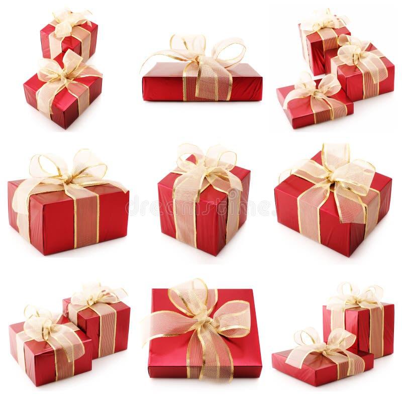 Collage der roten Geschenke stockfotografie