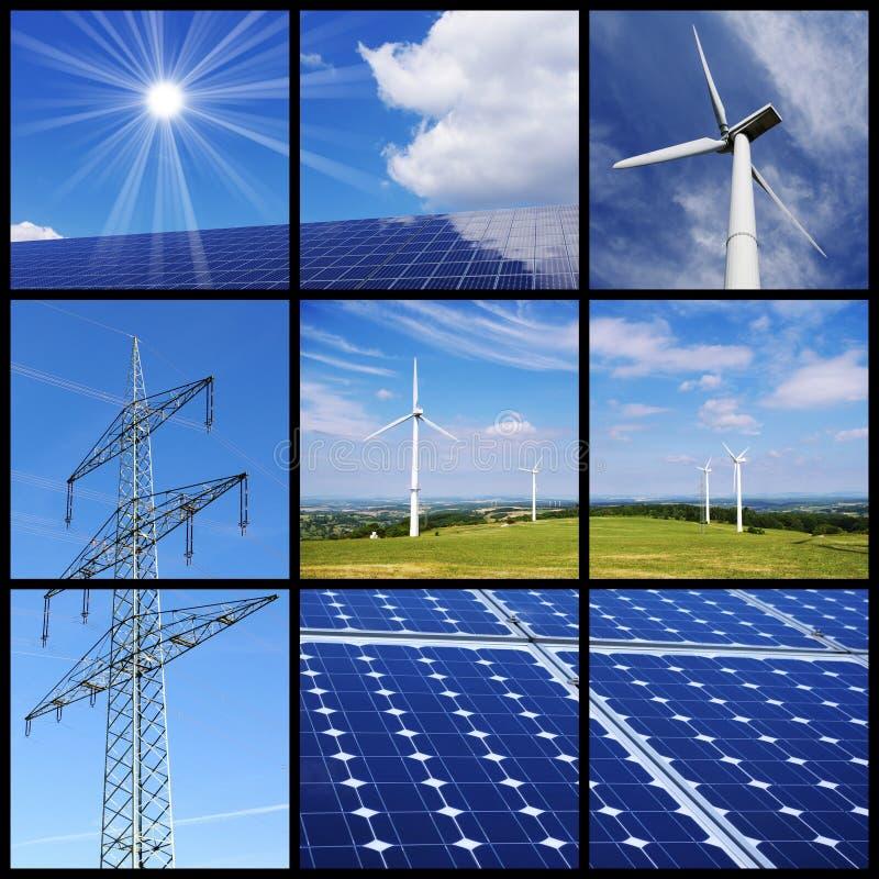 Collage der sauberen Energie stockfotos
