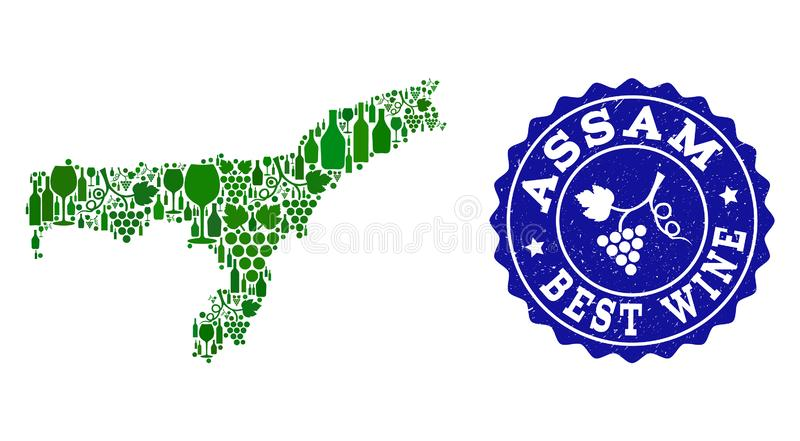 Collage der Trauben-Wein-Karte Assam-Staates und des besten Wein-Schmutz-Wasserzeichens lizenzfreie abbildung