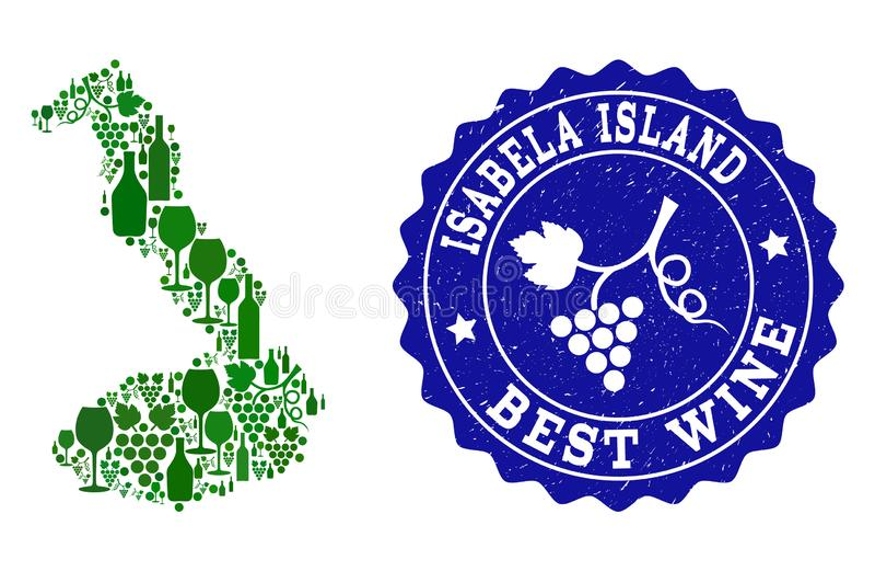 Collage der Trauben-Wein-Karte des Galapagos- - Isabela Island- und Best-Wein-Schmutz-Wasserzeichens stock abbildung