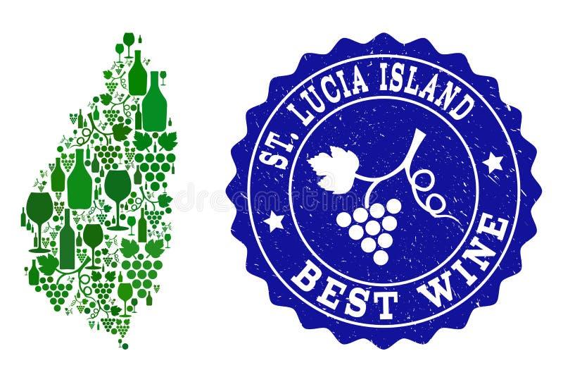 Collage der Trauben-Wein-Karte des Heiligen Lucia Island und des besten Wein-Schmutz-Stempels stock abbildung