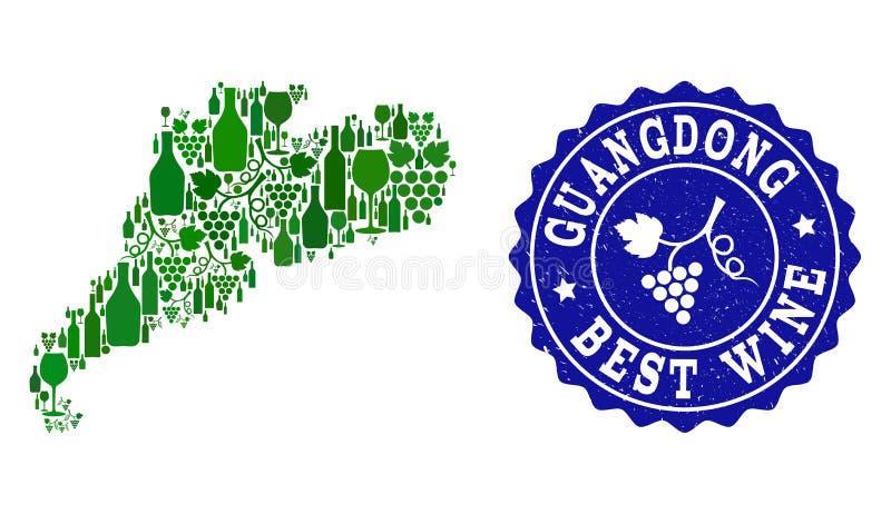 Collage der Trauben-Wein-Karte des Provinz Guangdongs und der besten Wein-Schmutz-Robbe lizenzfreie abbildung