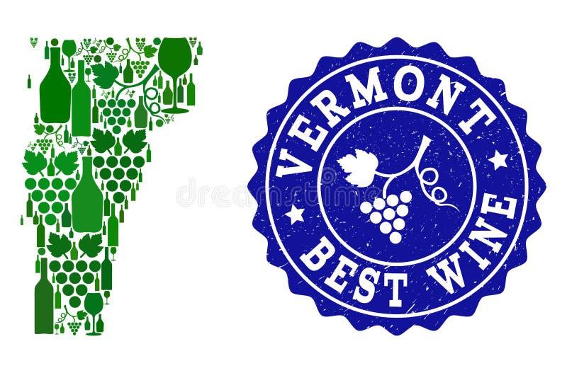 Collage der Trauben-Wein-Karte des Staat Vermonts und des besten Wein-Schmutz-Wasserzeichens lizenzfreie abbildung