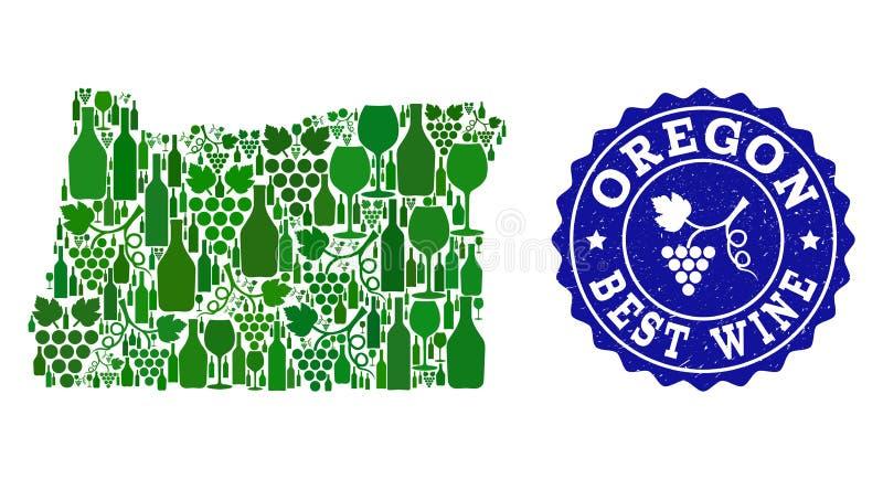 Collage der Trauben-Wein-Karte des Staats Oregon und des besten Wein-Schmutz-Wasserzeichens lizenzfreie abbildung