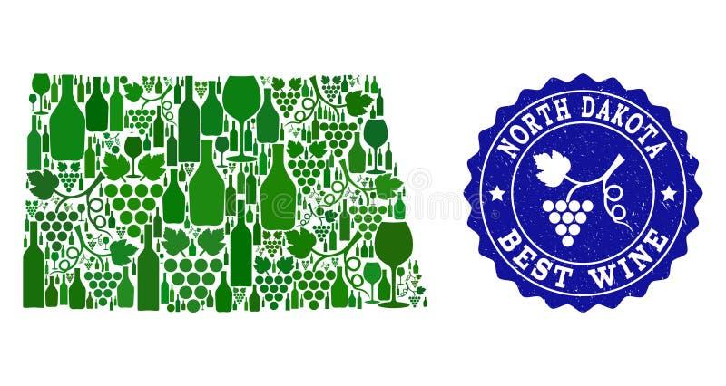 Collage der Trauben-Wein-Karte der Staat North Dakota und des besten Wein-Schmutz-Wasserzeichens lizenzfreie abbildung