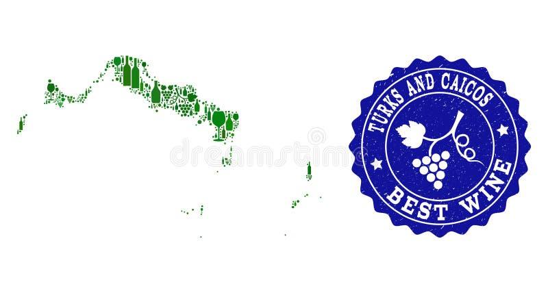 Collage der Trauben-Wein-Karte der Turks- und Caicosinseln und des besten Wein-Schmutz-Wasserzeichens lizenzfreie abbildung