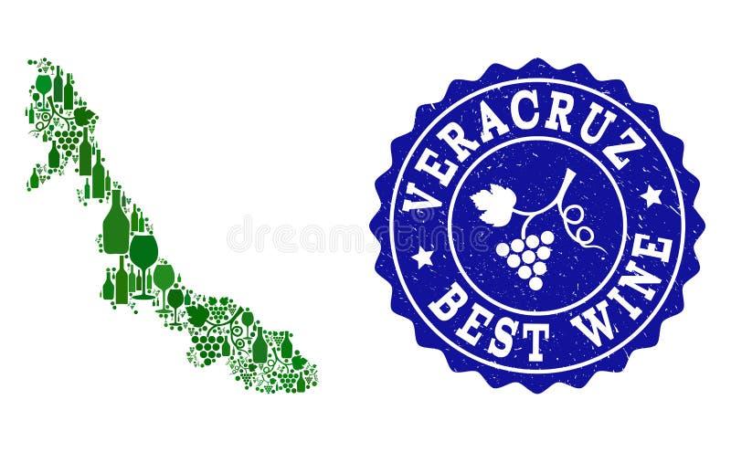Collage der Trauben-Wein-Karte Veracruz-Staates und der besten Wein-Schmutz-Robbe vektor abbildung